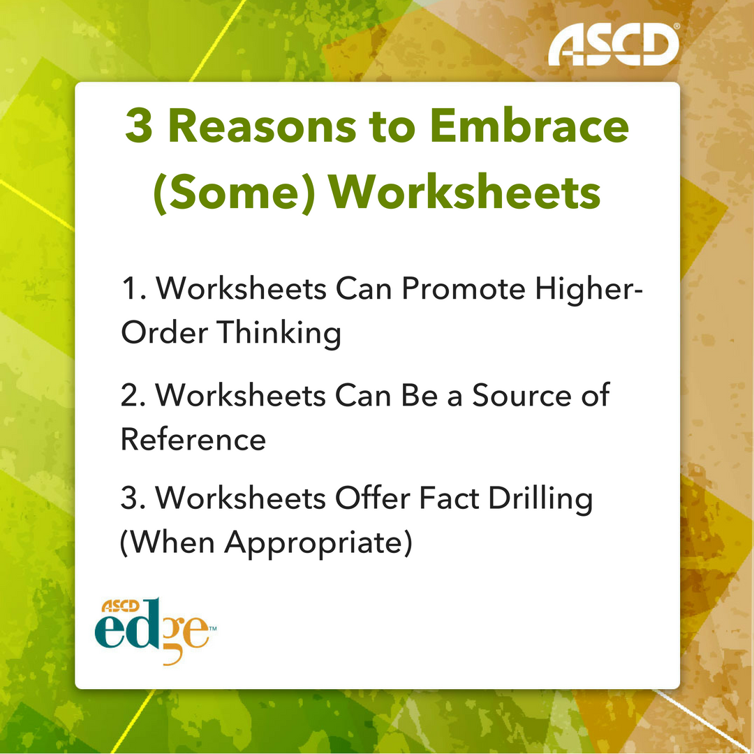 Ross Cooper Shares 3 Reasons To Embrace Some Worksheets