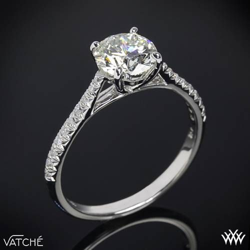 """Truly alluring, the Vatche """"Melody"""" Diamond Engagement Ring is sure to captivate your leading lady. Part of our Serenity Collection, this enticing beauty features an open cathedral design and 18 Round Brilliant Diamond Melee (0.10ctw"""
