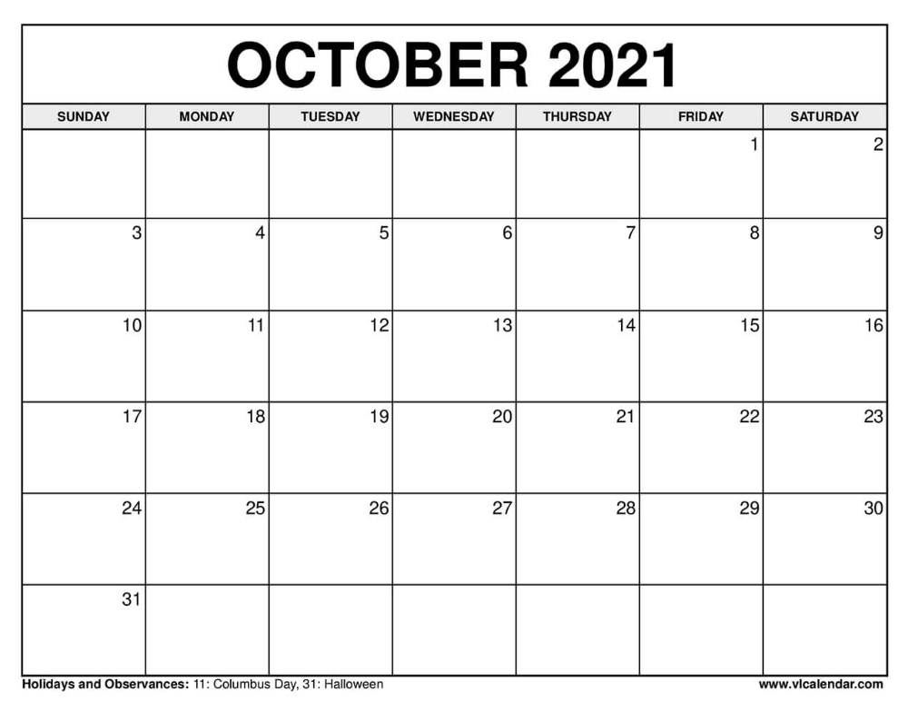 October 2021 Calendar In 2020 October Calendar Calendar Calendar Printables
