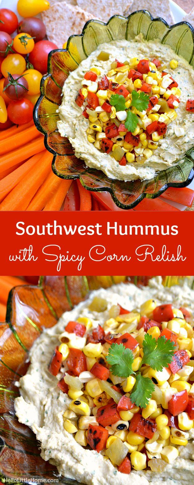 Southwest Hummus With Spicy Corn Relish