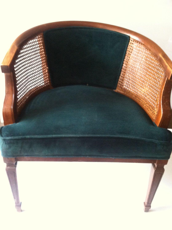 Mid Century Cane Backing Chair 165 00 Via Etsy Cane Back