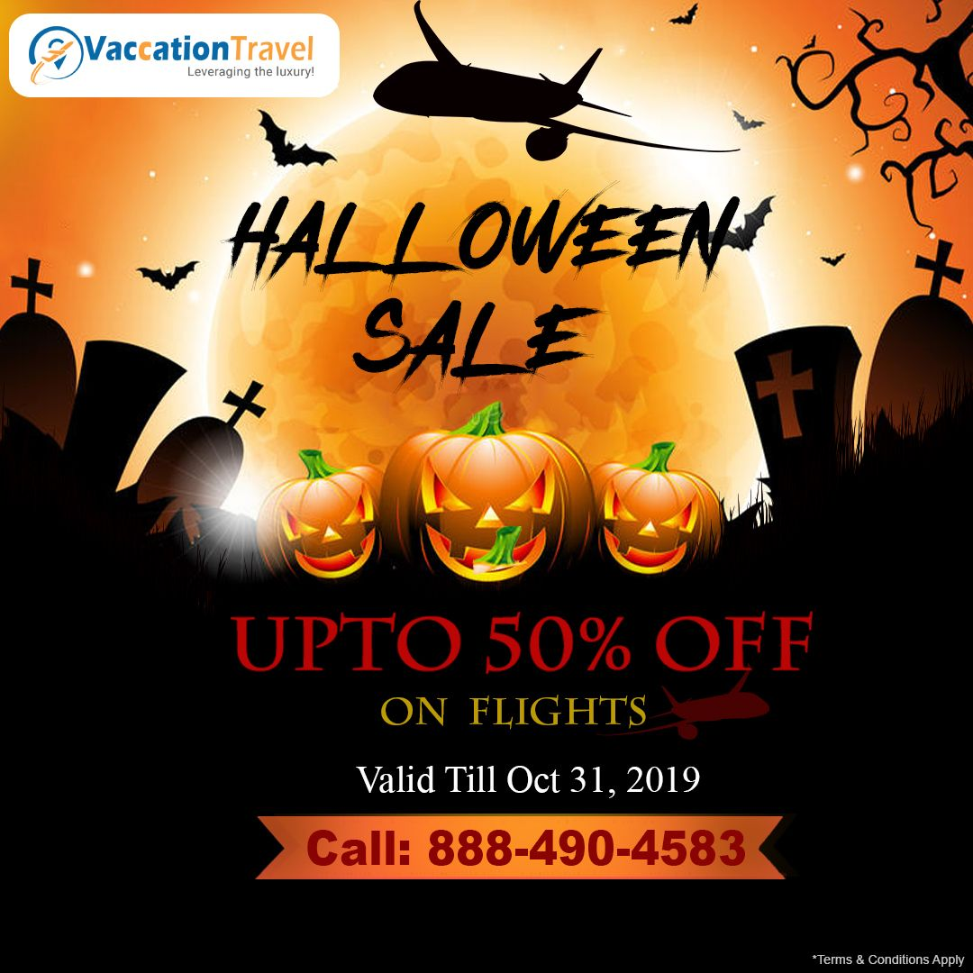 👻🎃 Halloween 🎃 Bonanza Sale 📢 on all flights across the US. Travel to your Hometown and surprise your loved ones. Save money by booking cheap flight tickets and spend on gifts and candies.🍭🍬  👇Book Today !!👇  ☎️ Call: 888-490-4583 (Toll-Free)  #HalloweenSale #VaccationTravel #BookCheapFlights #BestAirfareDeals #CheapestFare