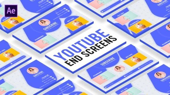 4 Smooth Youtube End Screen Template After Effects Template Video Video Games Memes Social Media Tutorial Premiere Pro