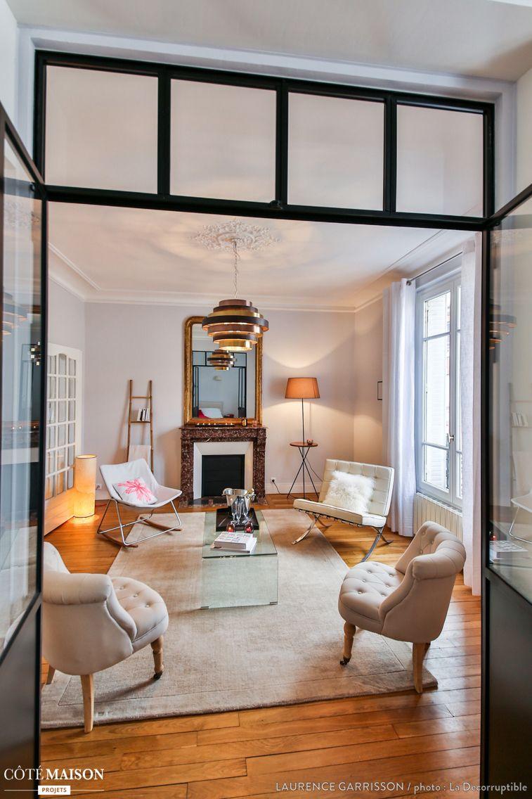 Une verri re entre le salon et la chambre maison haussmanienne parquet point de hongrie - Maison de la hongrie paris ...