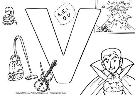 I Spy Alphabet Colouring Page V Alphabet Coloring Pages