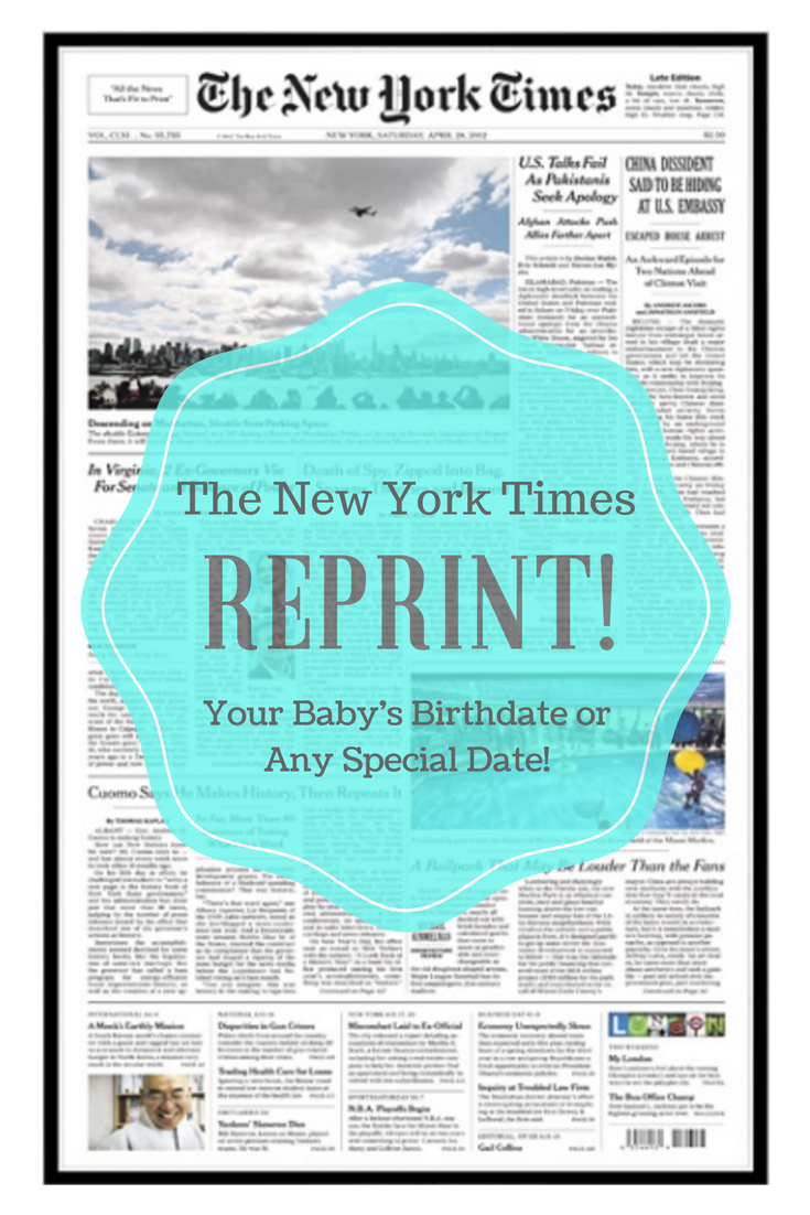 New York Times Reprint From Baby S Birthdate Or Another Special Date Book Sbook