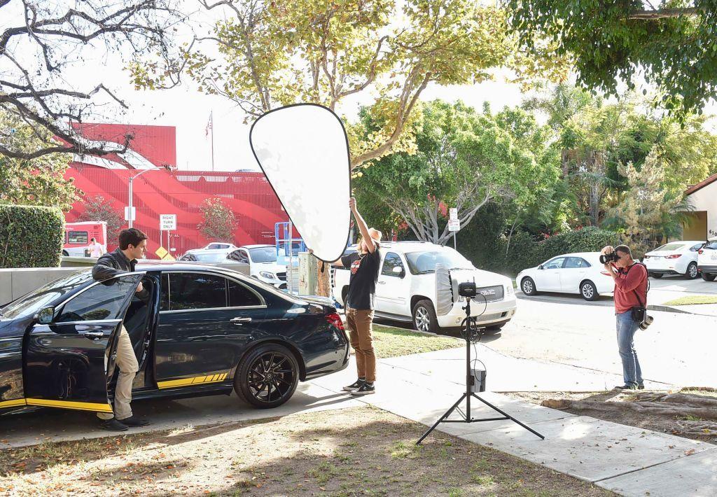 Greg Doherty Shooting Kash Hovey Posing With Mercedez Benz Encino At Benz Photo Encino