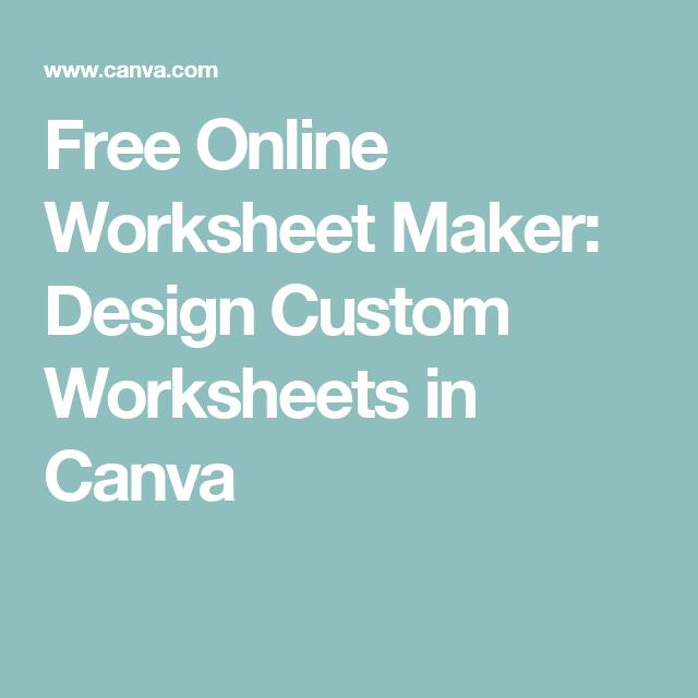 Free worksheet maker online
