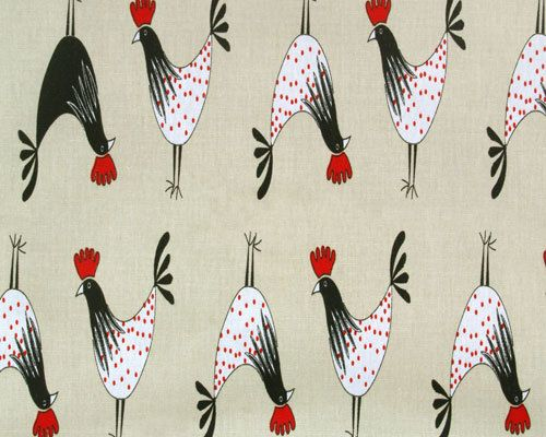 Rooster Fabric Crowing White Black Red Rooster Fabric Kitchen