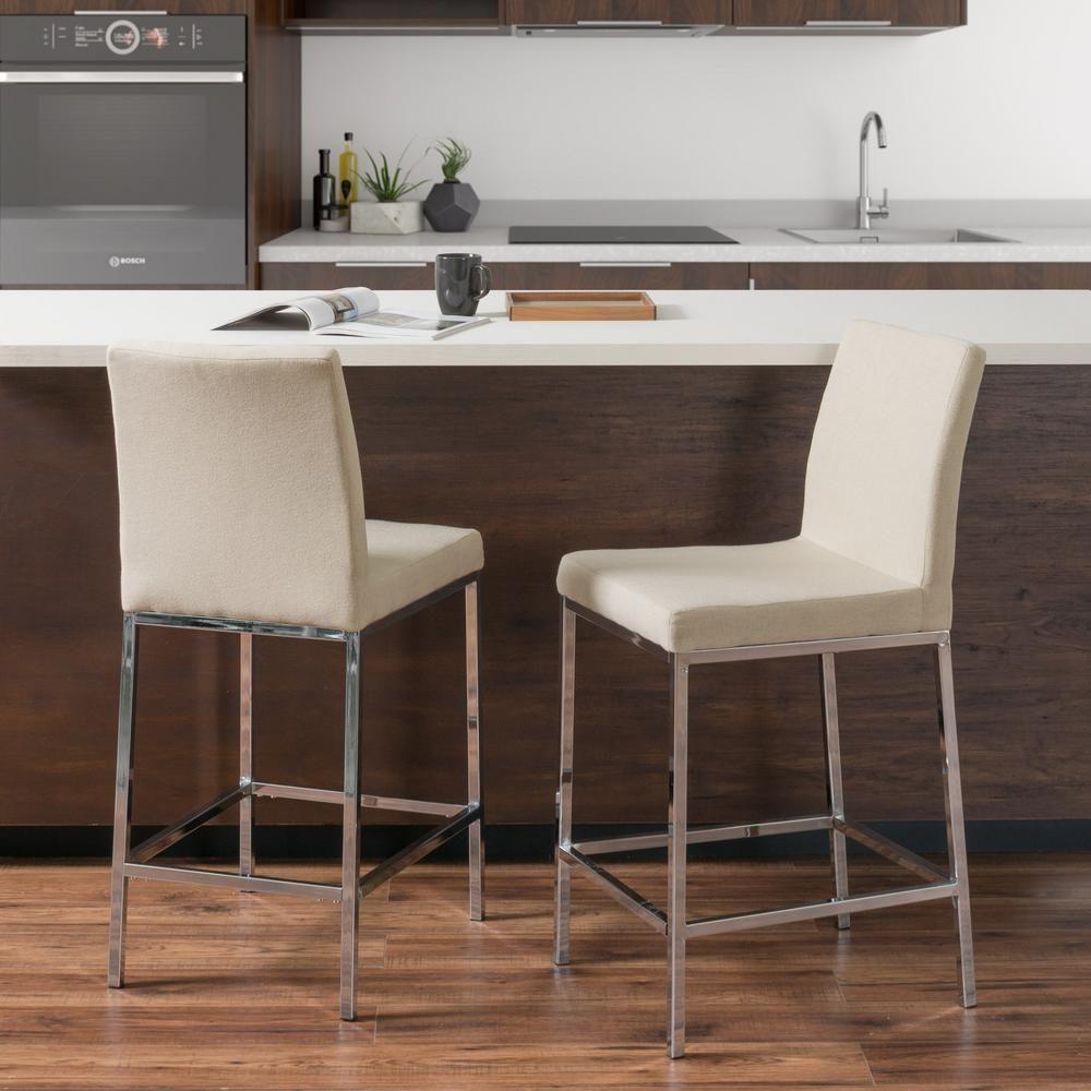 Huntington in beige fabric cushioned bar stool set of bar