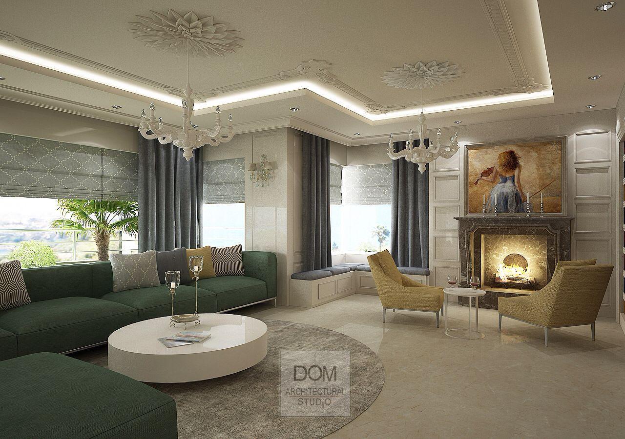 Living Room decor. Project by Ozgur Dogan. Dom Architectural Studio. Kardelen residence / Antalya / Turkey