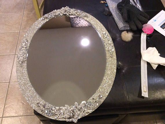 Rhinestones wall mirror 32x24 frames is covered in rows of ...
