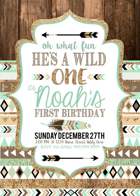 Tribal birthday printable invitations brown mint teal and gold tribal wild one first birthday party little boy baby shower invitation printable files on sale now only 999 digital download baby boy birthday invite stopboris Gallery
