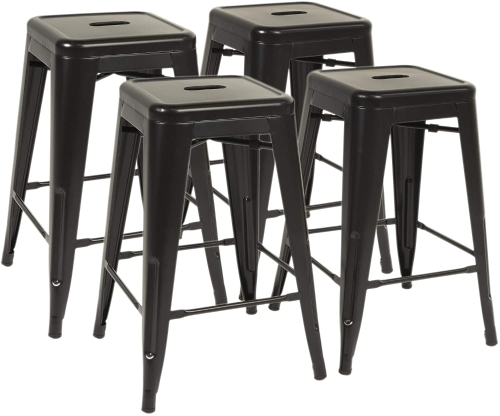 Amazonsmile Fdw Metal Bar Stools Set Of 4 Counter Height Barstool Stackable Barstools 24 Inch Indoor Outdoor Pati Metal Bar Stools Bar Stools Patio Bar Stools Bar stool sets of 4