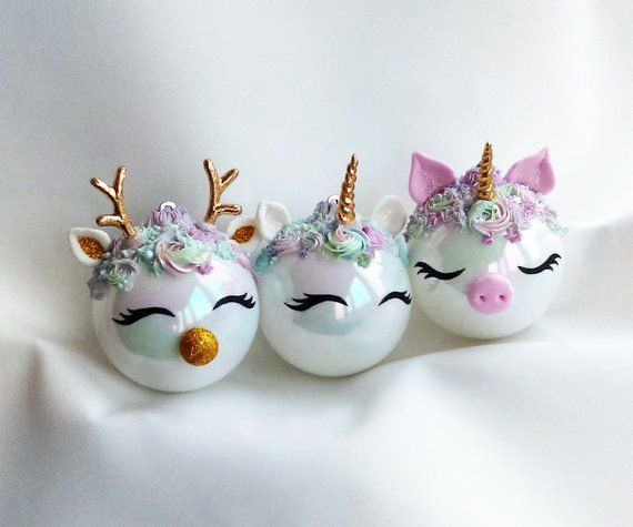 Christmas Ornament, Personalized Unicorn Christmas Ornament/ Set Pig Christmas - Deer Christmas, Unicorn Christmas, Rainbow unicorn ornament