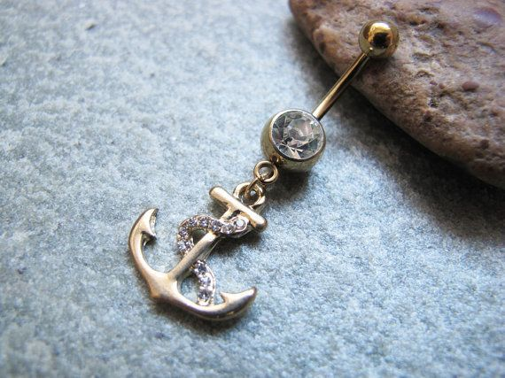 gold anchor belly button ring belly button jewelry on