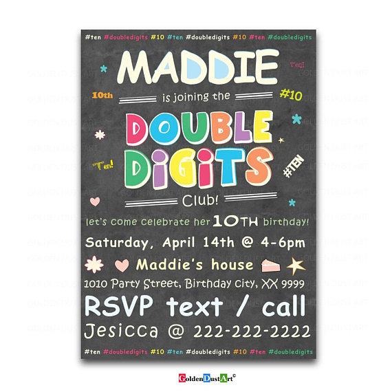 Double Digits Birthday Party Invitation 10th Invite Chalkboard Happy