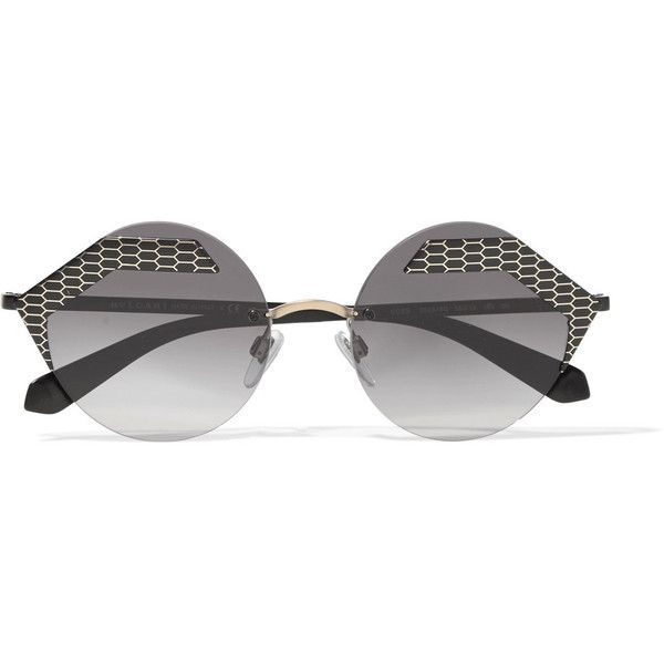 42af1bf30f BVLGARI Serpenti round-frame printed metal sunglasses (4 550 ZAR) ❤ liked  on Polyvore featuring accessories