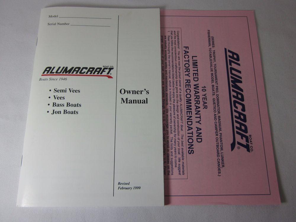 Alumacraft Owner's Manual Semi Vees , Vees ,Bass Boats , Jon