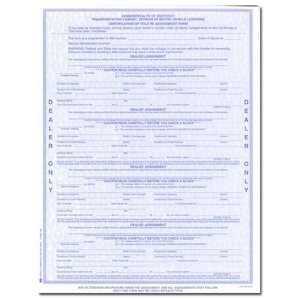 Ky Title Reassignment Form Paducah Used Car Dealers