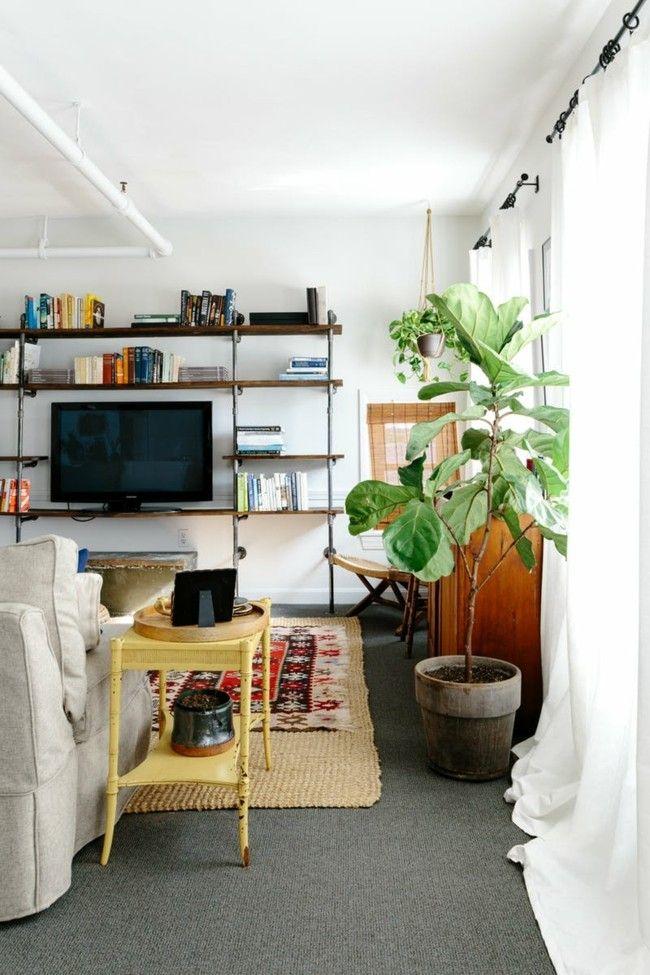 Deko Ideen Mietwohnung Wohnzimmer offene Regale clevere Lösung - teppich wohnzimmer bunt