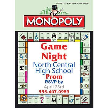 Monopoly Stationery Card Invitations  Monopoly Party Ideas