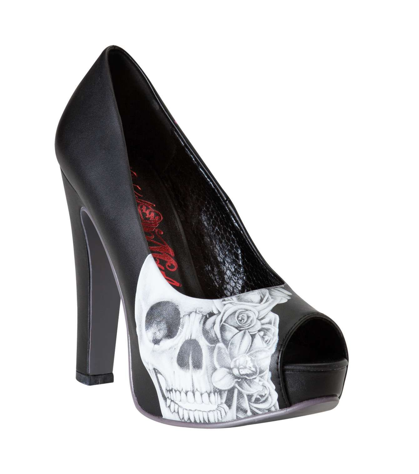 Metal Mulisha Maidens HEARTLESS PUMPS! Black heels with skull artwork and red detail! $60.00