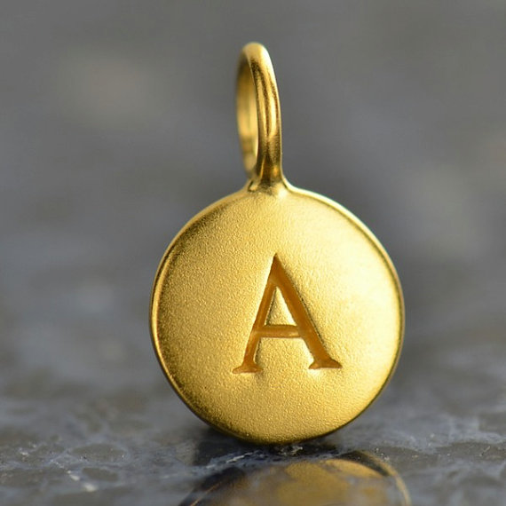 alphabet charm  gold plated letter round initial by lydialayne