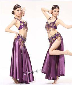 5a3e1b90137 Belly-Dance-Costume-Set-3-Pics-Bra-Belt-Skirt-34B-36-38-40-40D-Plus-Size