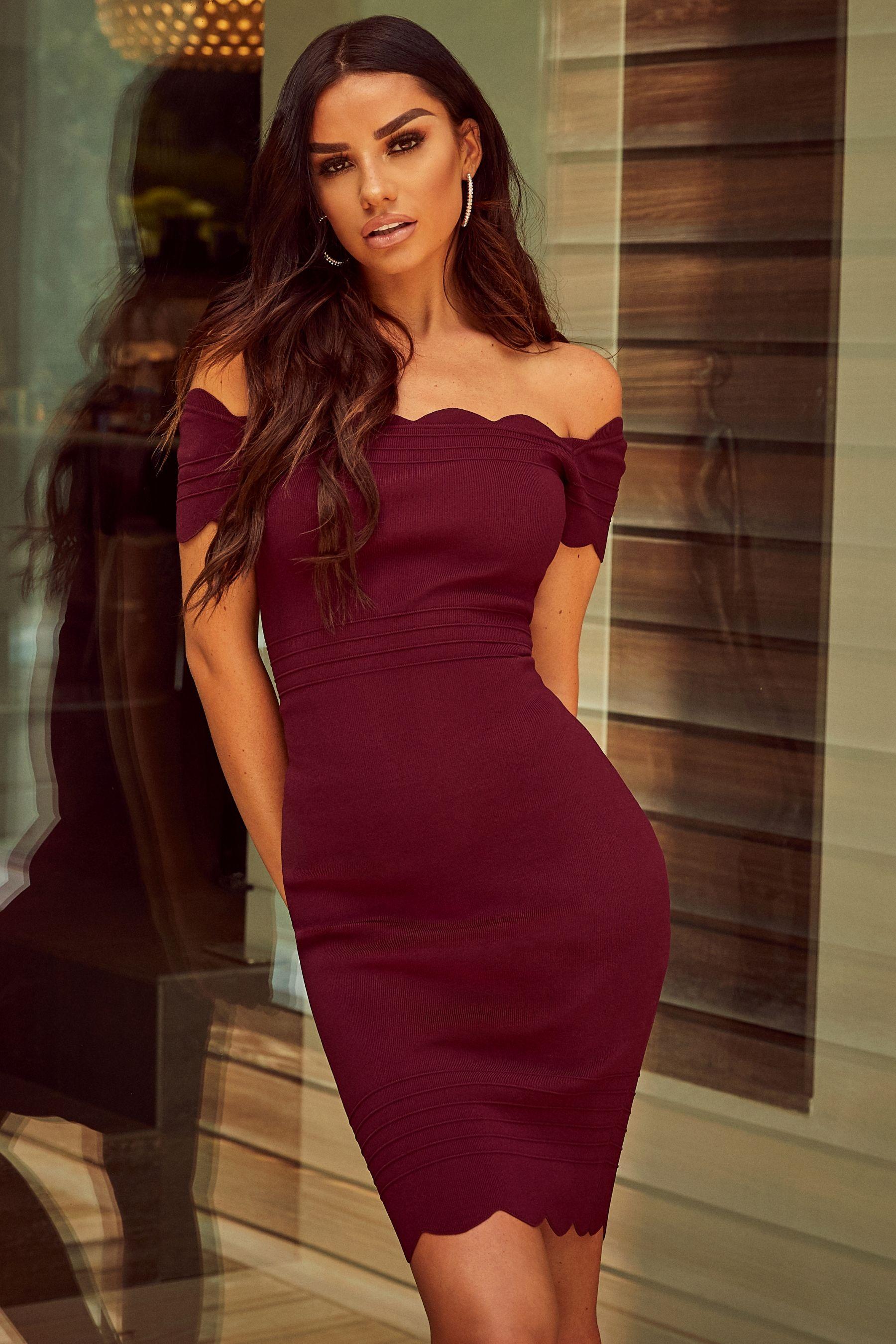 7aafcb88eb3 Womens Lipsy Scallop Bardot Dress - Red   Fashion in 2019   Dresses ...