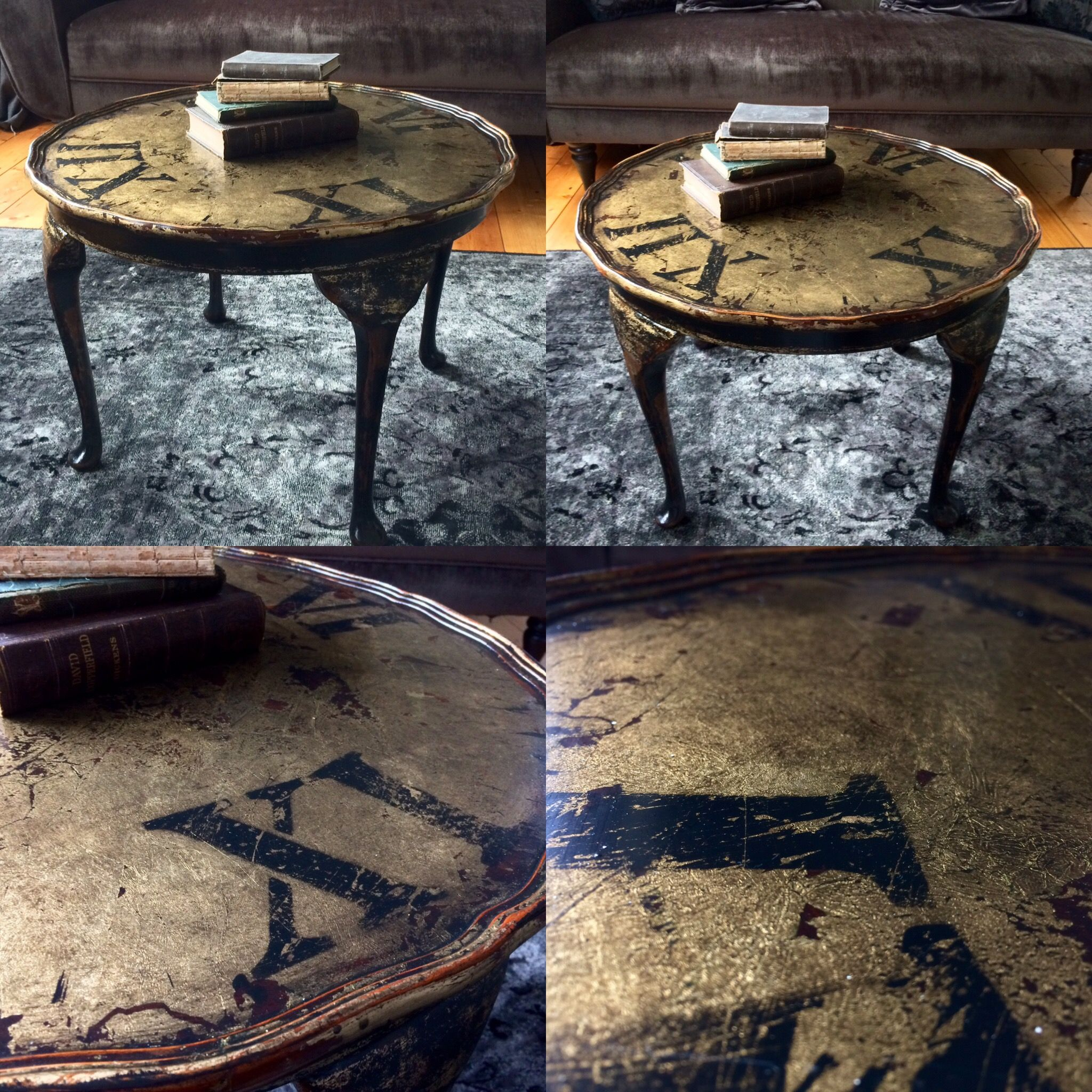 Gold Shabby Chic Coffee Table: Shabby Chic, Alice In Wonderland, Vintage Table, Clock