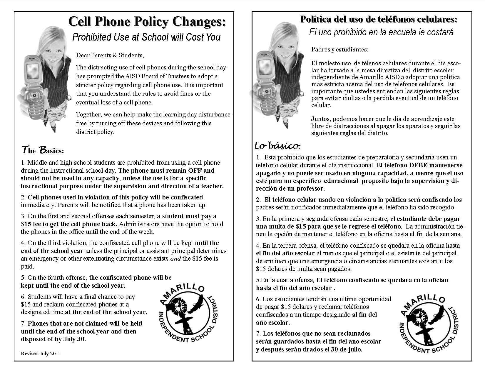 Printable sample cell phone policy form laywers template for Mobile phone policy template