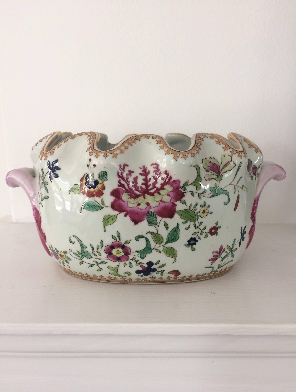 Gorgeous Hand Painted Planter, Bulb Pot, Orchid Pot, Jardiniere, Vase,