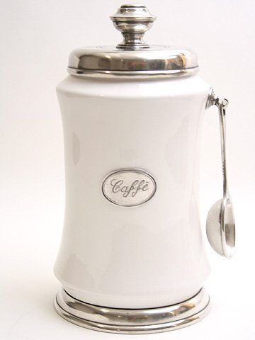 Serve And In Style With Our Best Ing Coffee Canister Spoon Italian Pewter Ceramic Hand Made Italy