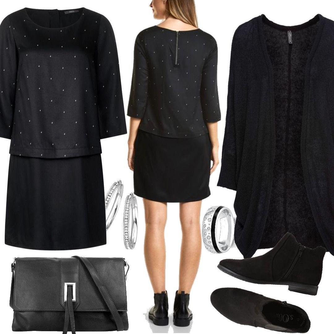 cecil lagen-look kleid - black schwarz outfit für damen zum