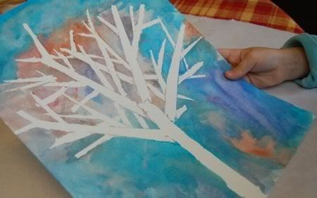 Winter Kids Art Project Using Tape And Paint Winter Art Projects