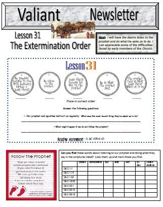 Valiant Newsletter - Lesson 31 Primary 5 Excellent to use in - church newsletter