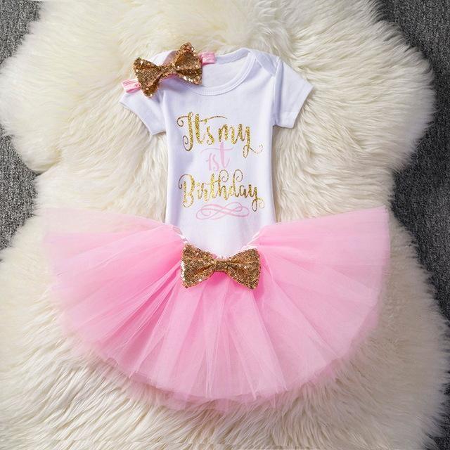 Toddler 1st Birthday Outfit Newborn Baby Girls Party Tutu Skirt Dress Romper
