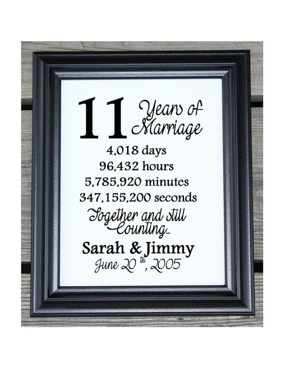 11th Wedding Anniversary Cotton Print 11th Wedding Gift 11 Years