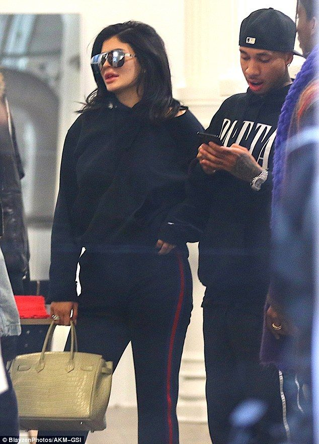 a59cd9dae13a8e Laid-back look  Kylie also went with a casual attire in an all black  tracksuit while out on an afternoon outing with her longtime boyfriend