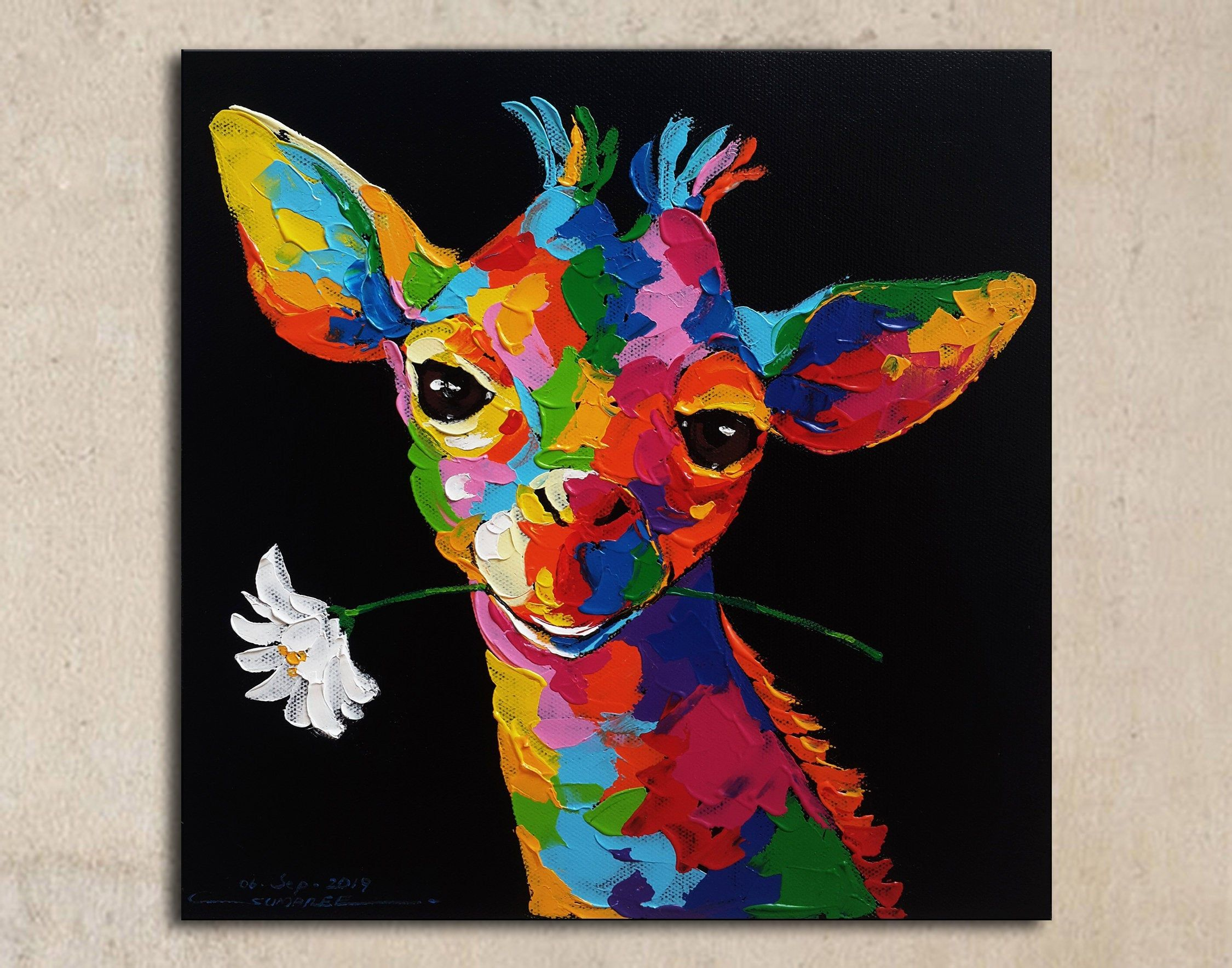 Giraffe Colourful Paint Animals SINGLE CANVAS WALL ART Picture Print