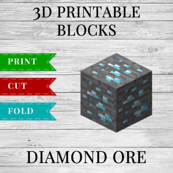 Printable Minecraft Diamond Ore Template With Images Minecraft