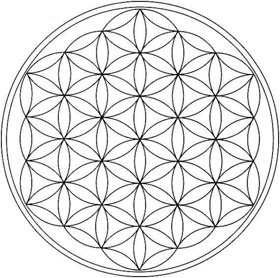 8.5x8.5 Flower of Life Black Line Crystal Grid by