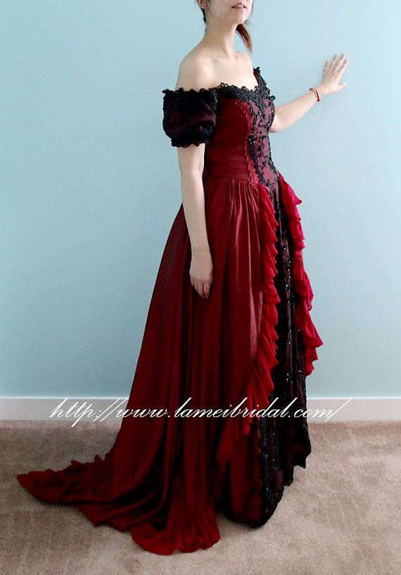 Red and Black Gothic Princess Corset Wedding Gown with Red | Costume ...