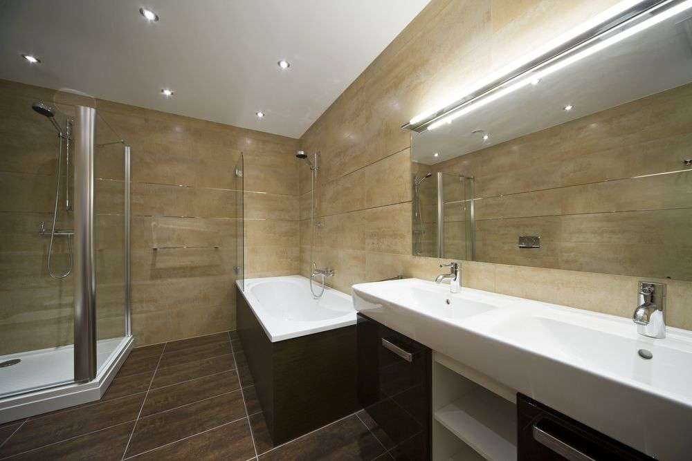Dark Brown Tiles And Matching Wood Cabinetry And Bath Enclosure Pair With  Massive Dual Sink Vanity