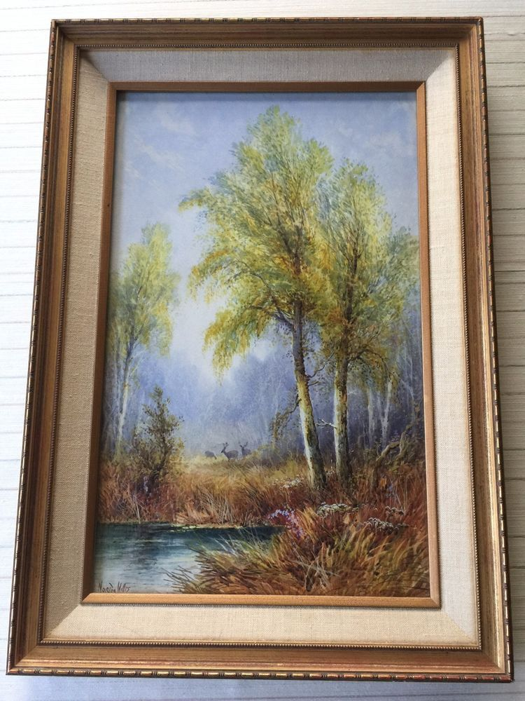 Original Norios Hillis Watercolor Painting Landscape, Signed, Framed ...