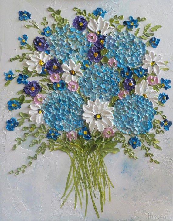 Lila groot schilderij stilleven Impasto schilderij bloemen