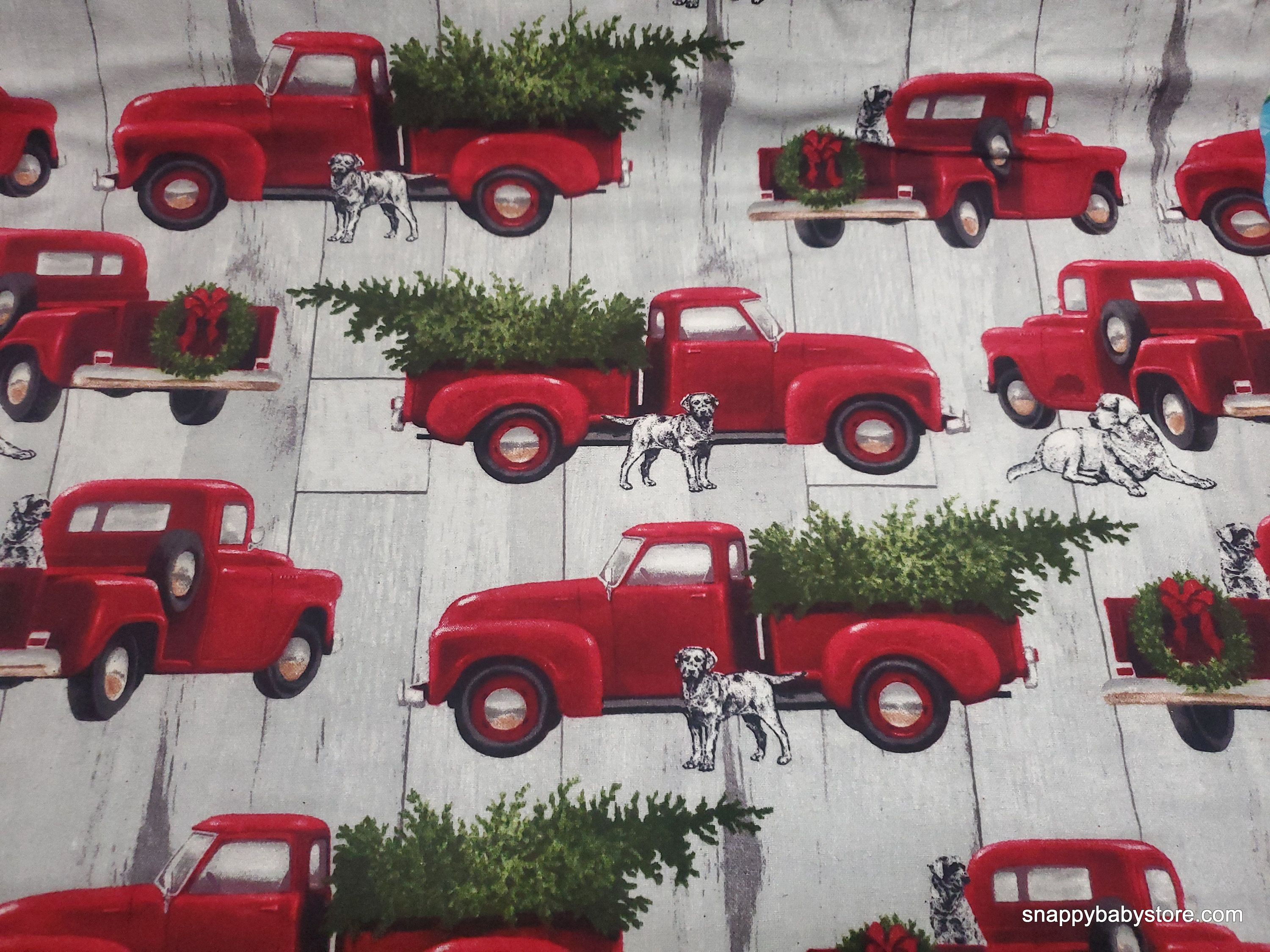 Christmas Commercials With Dogs And Trucks 2020 Christmas Flannel Fabric Red Truck Dog Christmas By the | Etsy in