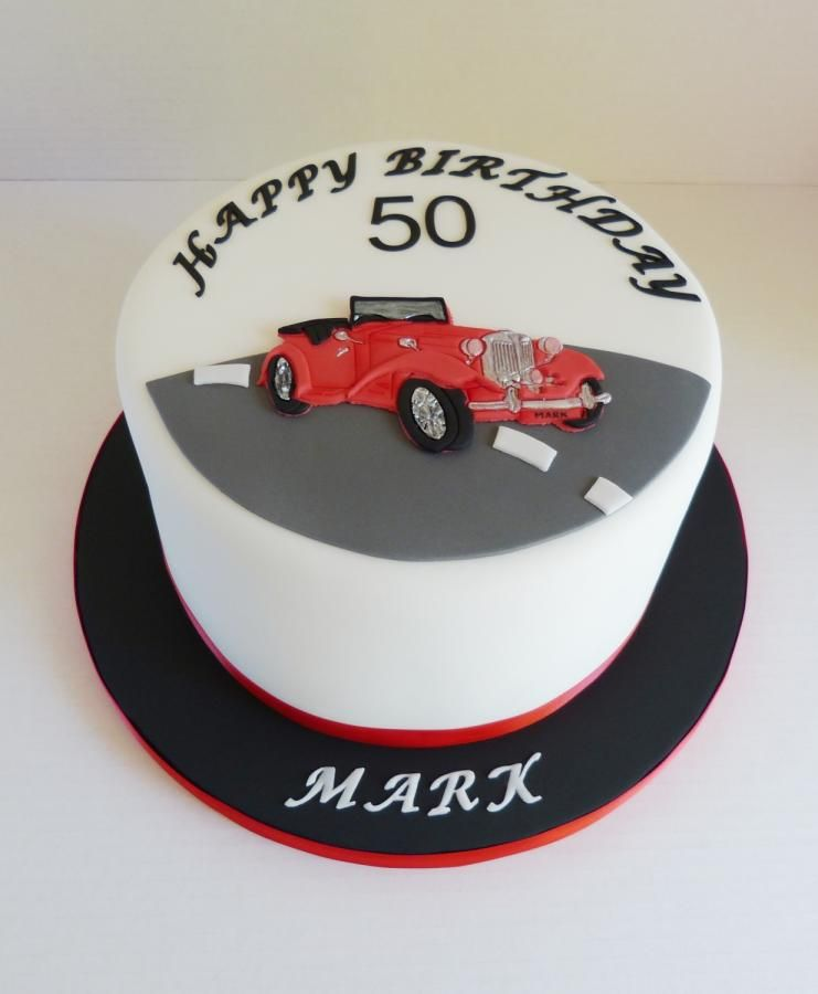 Vintage Classic Car 50th Birthday Cake With Images Birthday