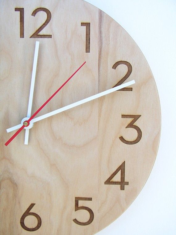 10 Inch Modern Wood Wall Clock With Beautiful Natural Woodgrain And Classy Modern Numbers Wood Wall Clock Wall Clock Modern Wall Clock